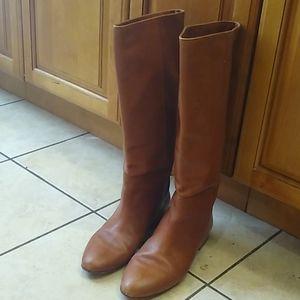 Loeffler Randall Tall Flat Caramel Boots Sz 9